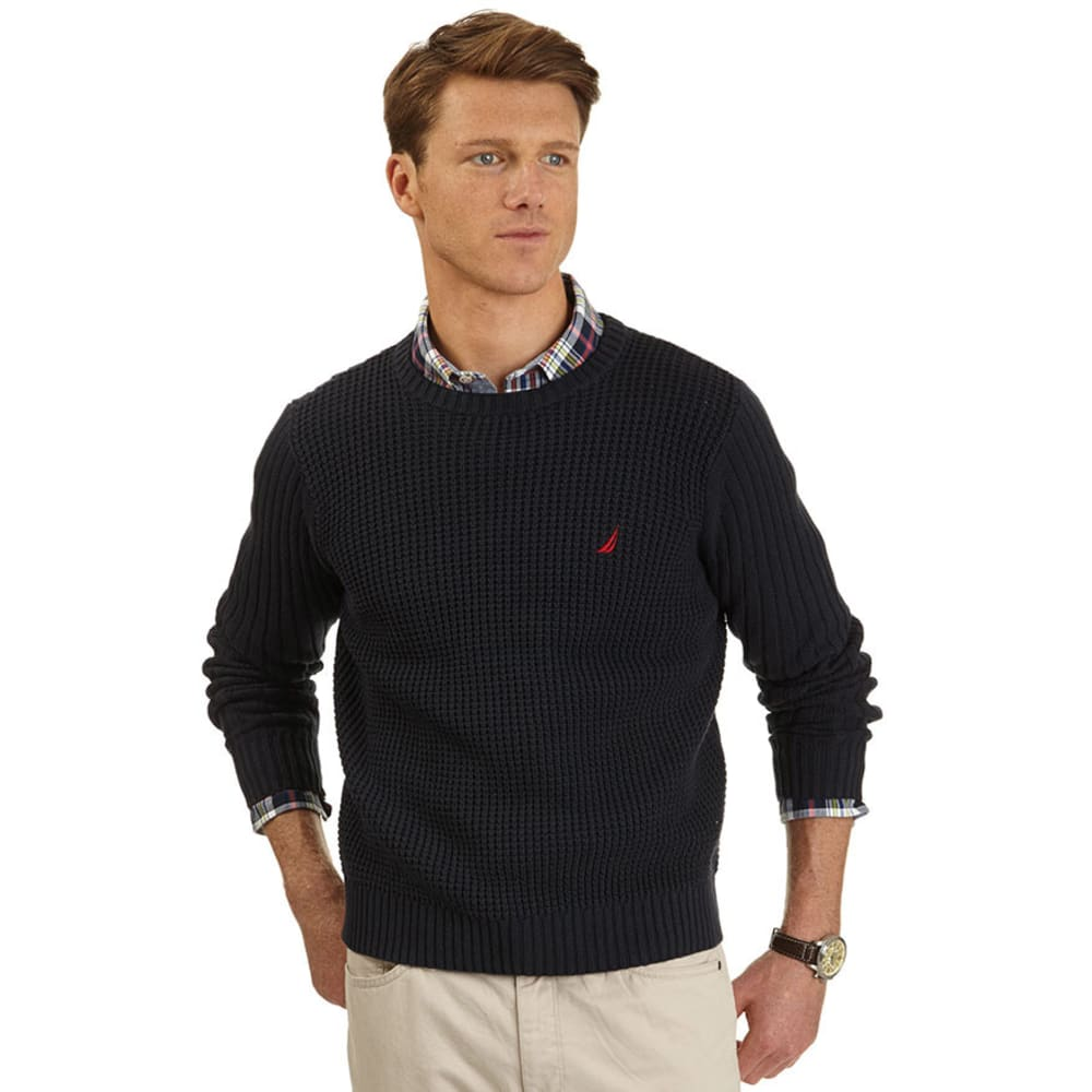 NAUTICA Men's Shaker Crew Neck Sweater - NAVY