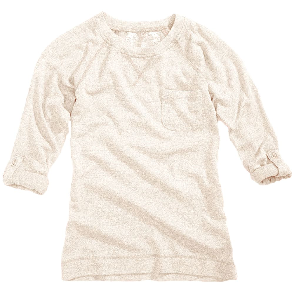 POOF Girl's Solid Marled Raglan Roll Sleeve Top - EGGSHELL