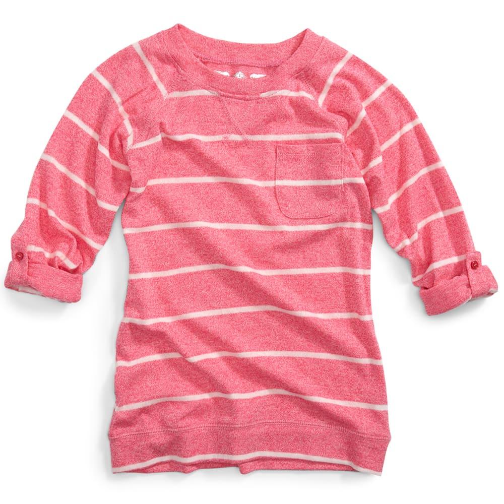 POOF Girl's Striped Marled Raglan Roll Sleeve Top - NEON PINK