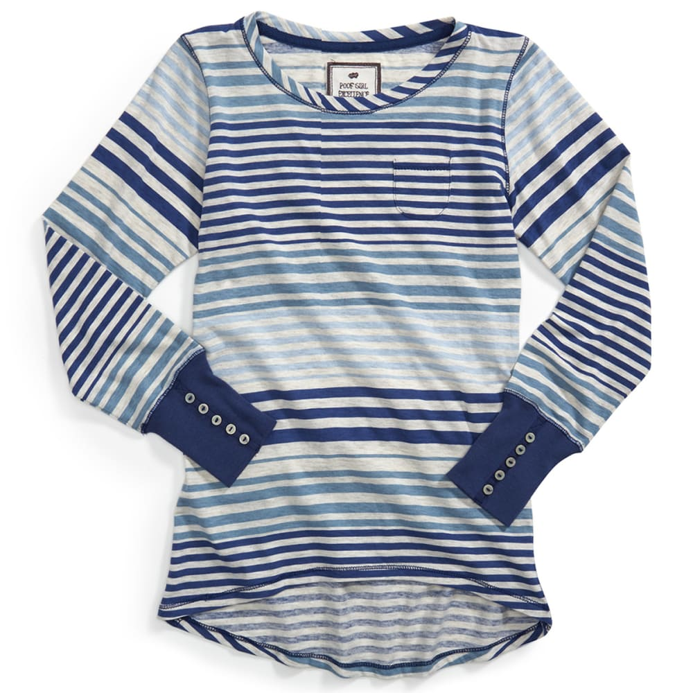 POOF Girl's Engineered Striped Hi/Lo Scoop Neck Shirt - DENIM