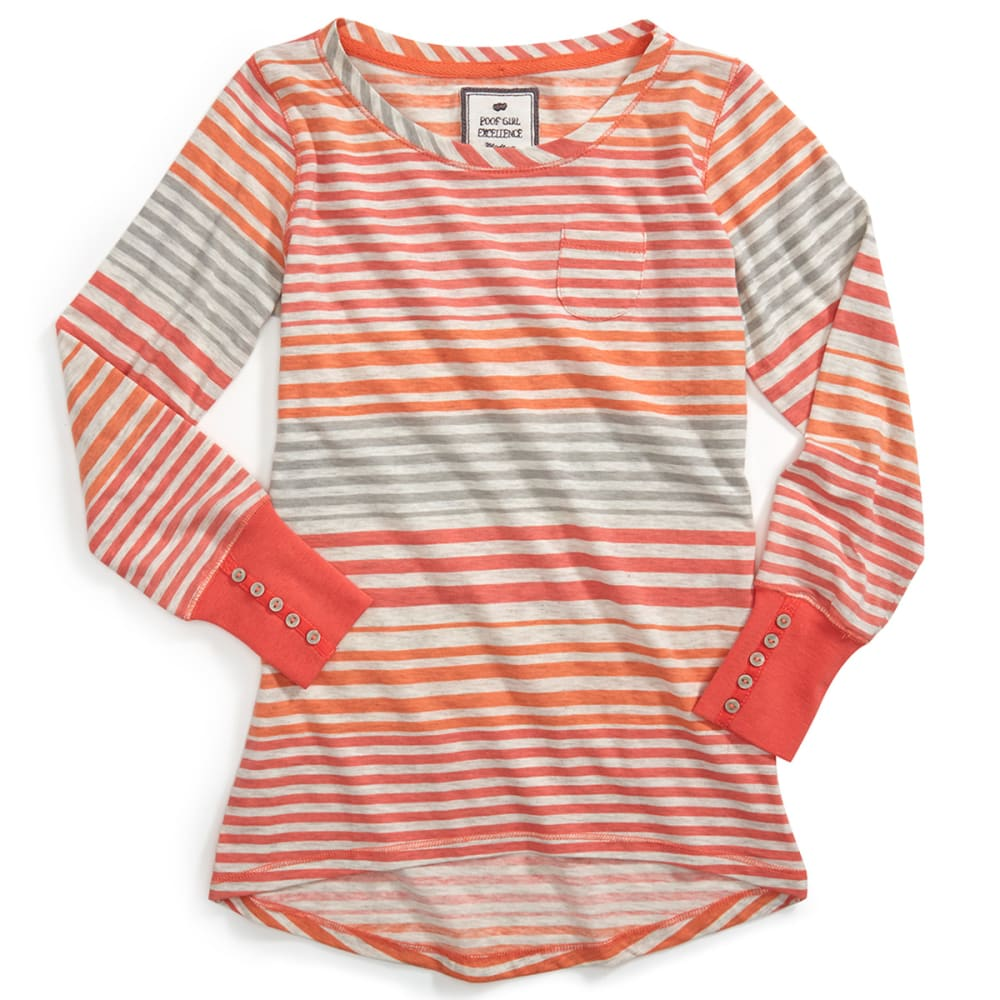 POOF Girl's Engineered Striped Hi/Lo Scoop Neck Shirt - GEORGIA PEACH COMBO