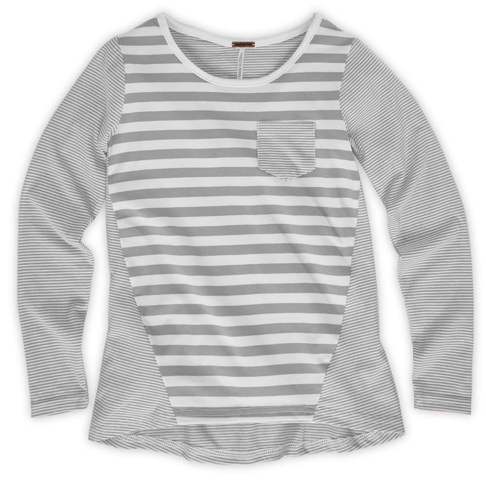 POOF Girls' Grey Mini/Mega Stripe Tee - LIGHT GREY