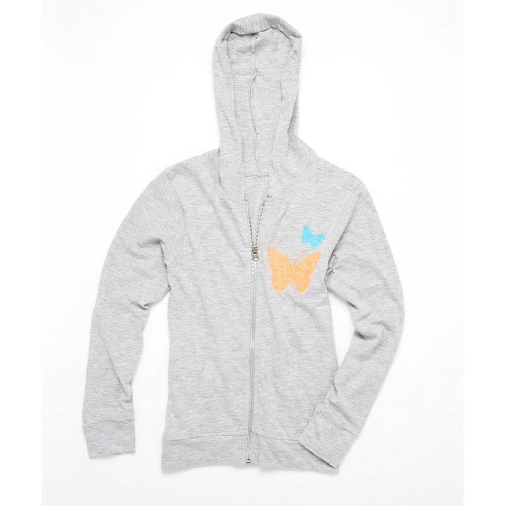 LOVE, PEACE & LIPGLOSS Girls' French Terry Zip Up Hoodie - LIGHT GREY