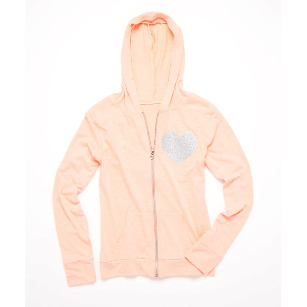 LOVE, PEACE & LIPGLOSS Girls' French Terry Zip Up Hoodie - CORAL