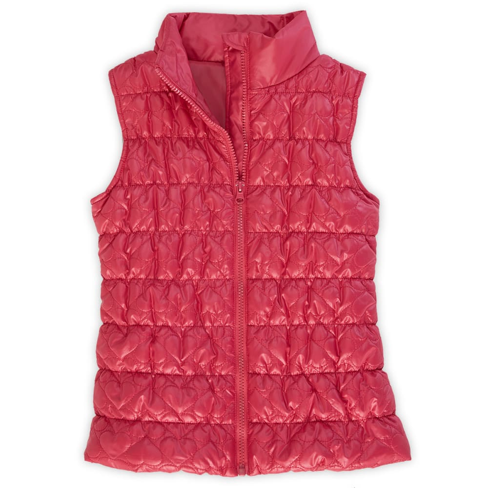 HEART AND CRUSH Girls' Pink Quilted 2Fer Vest With Striped Shirt - PINK