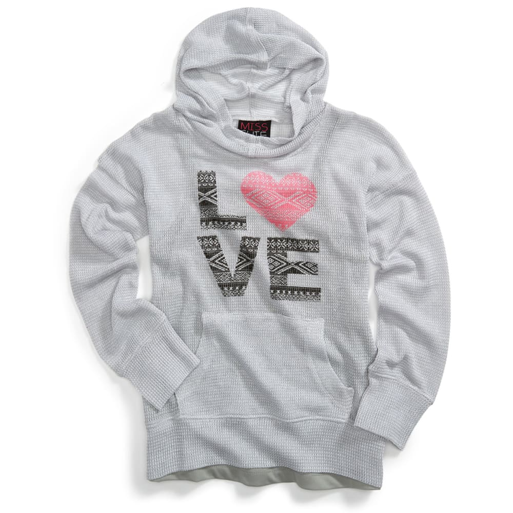 MISS CHIEVOUS Girls' Love Long-Sleeve Hacci Hoodie - SOFT SILVER