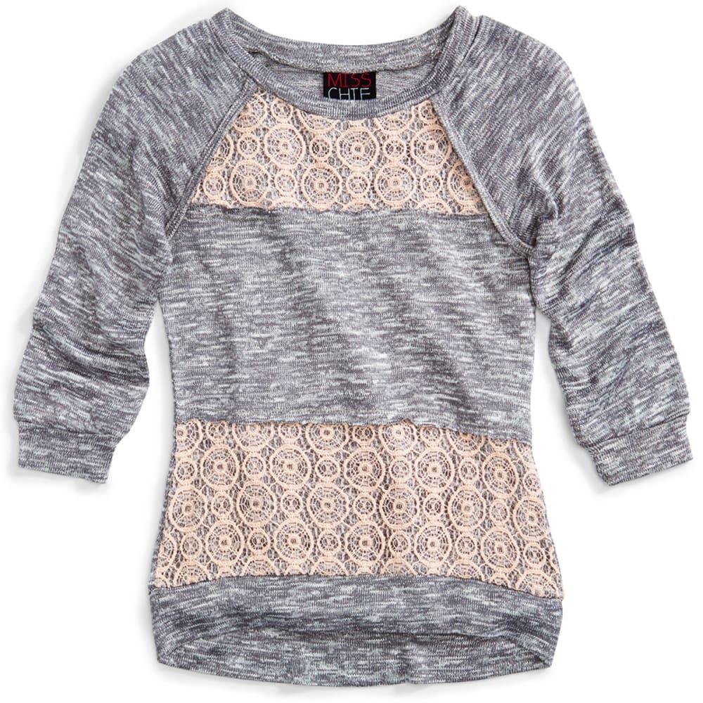 MISS CHIEVOUS Girls' Crochet ¾-Sleeve Hacci Tunic - BEACH FOG