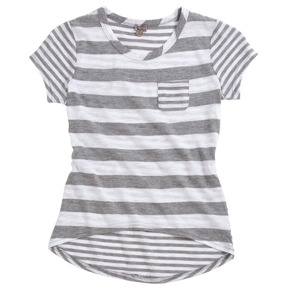 POOF Girls' Striped Scoop Neck Pocket Tee - LIGHT GREY