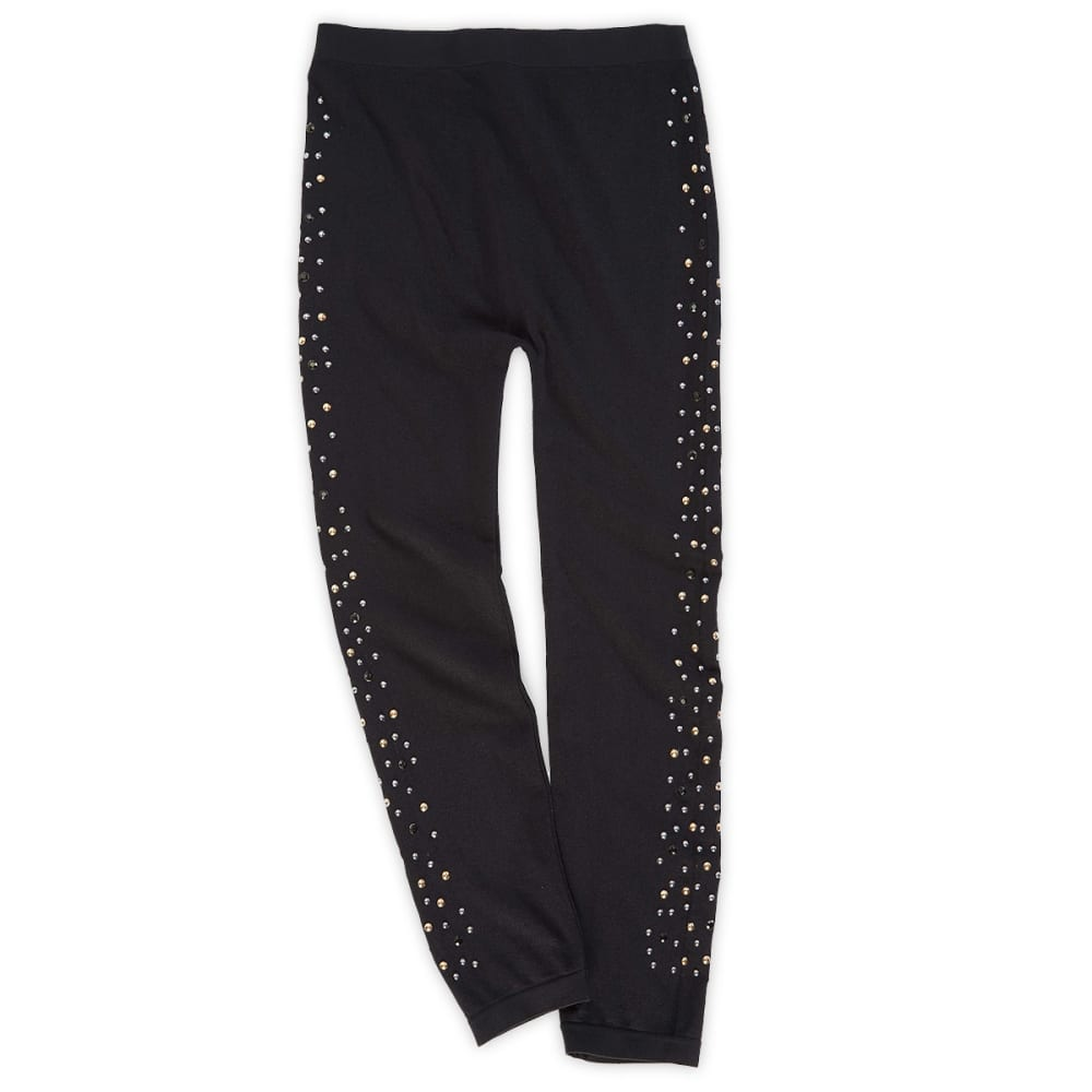 POOF Girls' Silver/Gold Studs Leggings - BLACK