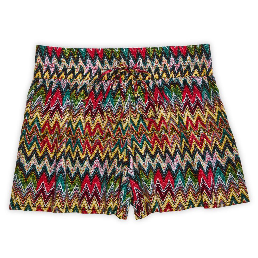 SQUEEZE Girls' Neon Chevron Challis Shorts - ZIG ZAG TRIBAL