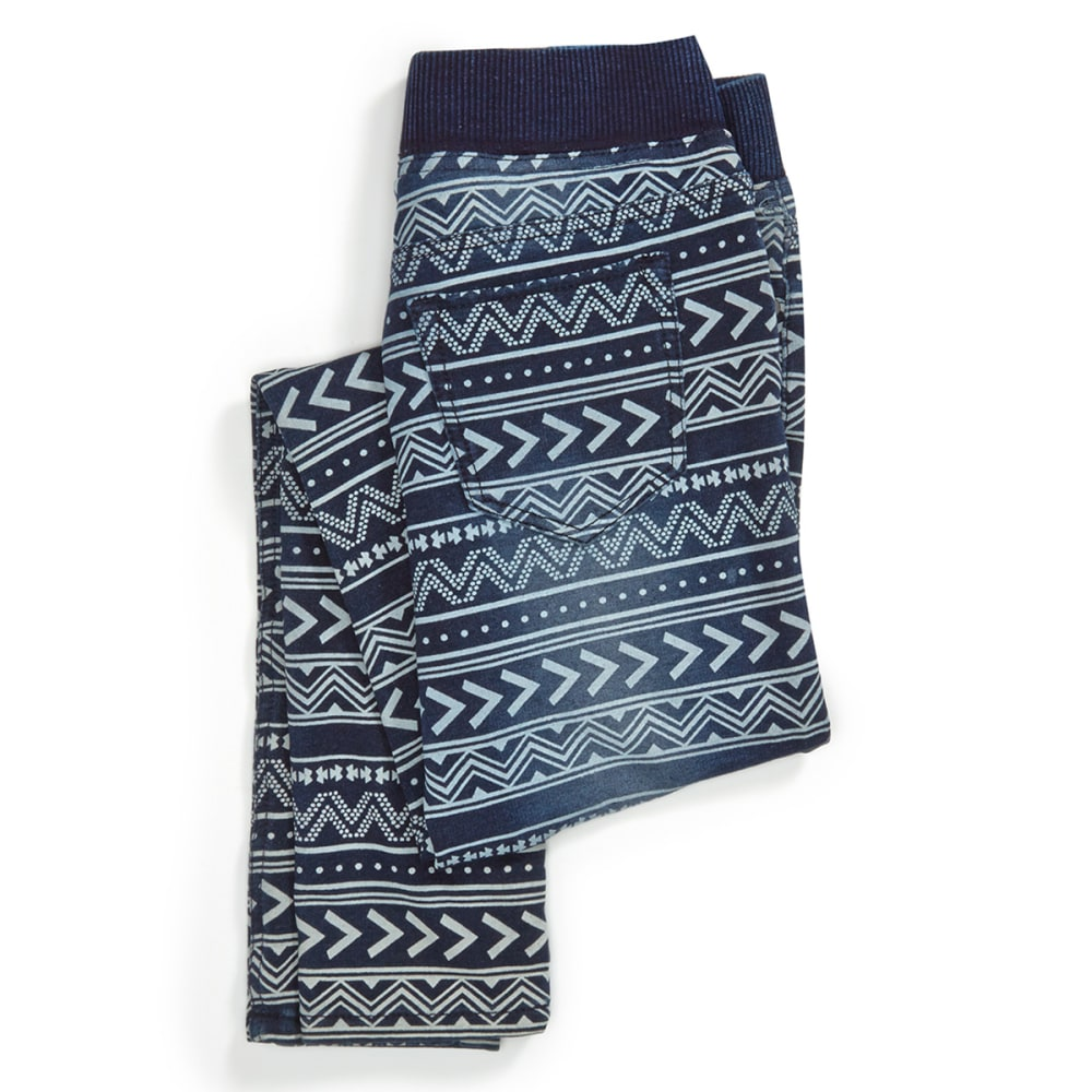 VANILLA STAR Girl's Ribbed Knit Waistband Aztec Print Jeggings - BLOCK PARTY