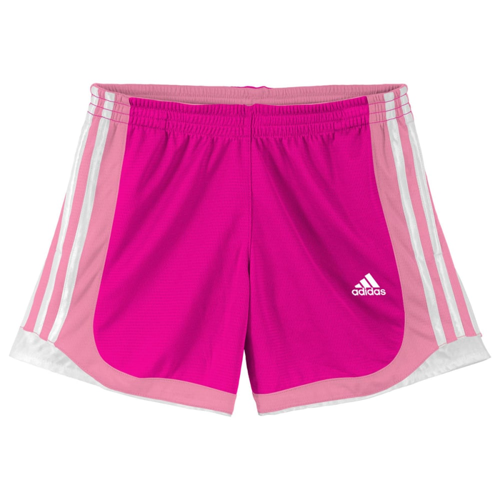 ADIDAS Girls' P.E. Shorts - SOLAR PINK/LIGHT PIN
