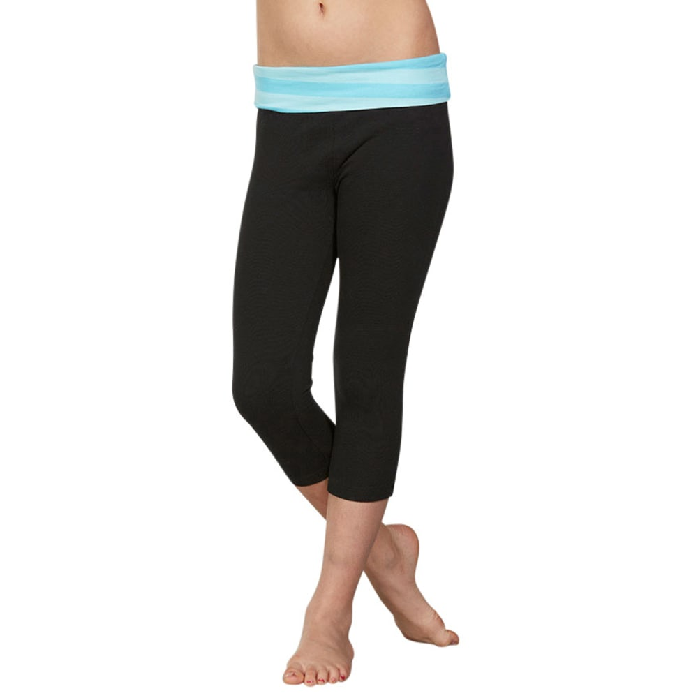 MARIKA Girls' Striped Foldover Waistband Capri Leggings - BLACK/BLUEFISH
