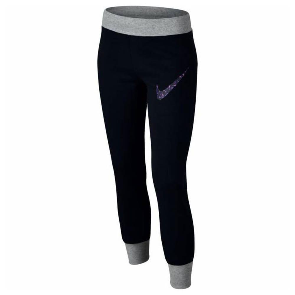 NIKE Girls' Cotton Brushed Fleece Jogger Pants - BLACK