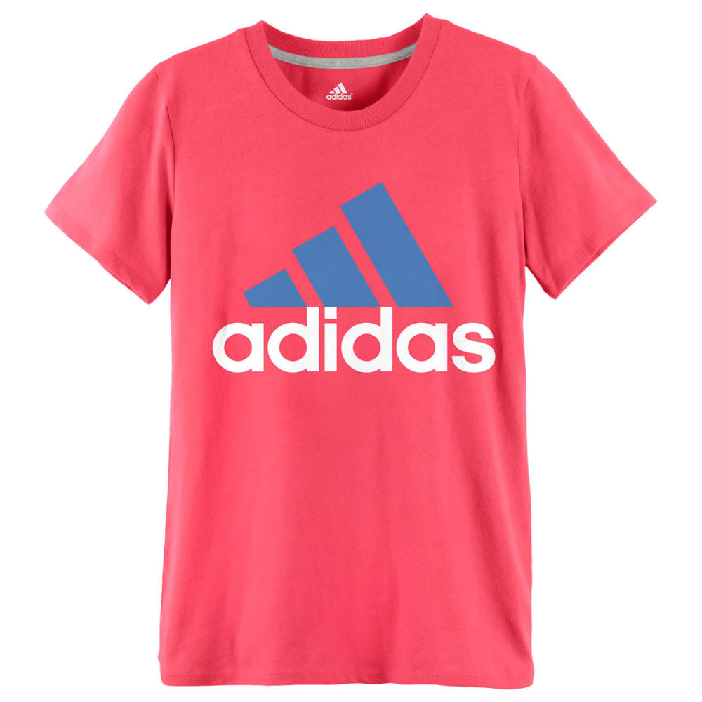 ADIDAS Girls' Logo Tee - FLASH RED/LUCKY BLUE