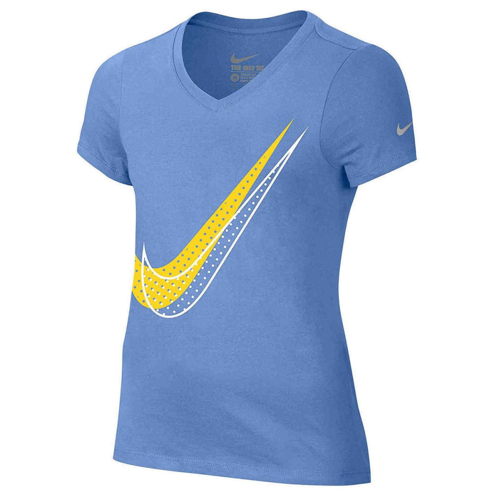 NIKE Big Girls' Shadow Dot Swoosh Short-Sleeve Tee XS