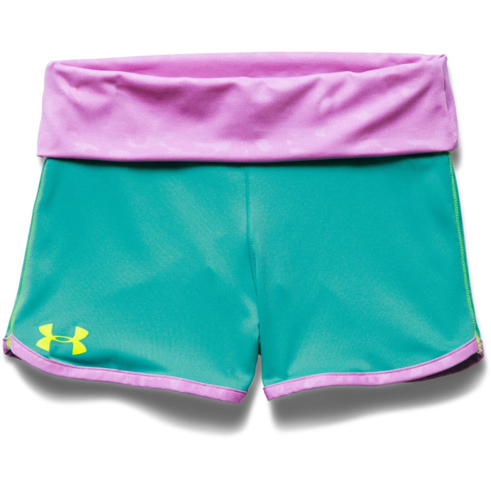 UNDER ARMOUR Girls' Hype Rollover Shorts - MOSAIC/EXOTIC