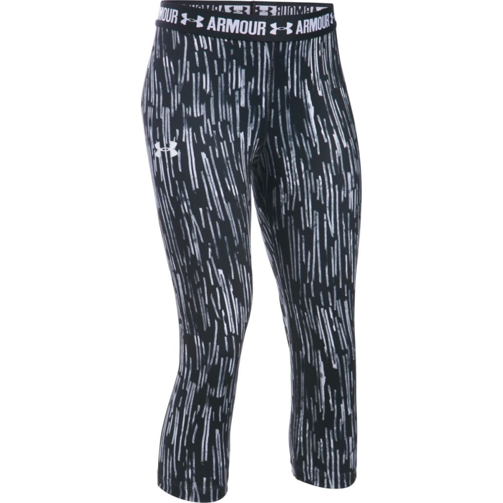 UNDER ARMOUR Girls' UA HeatGear Armour Printed Capri Leggings XS