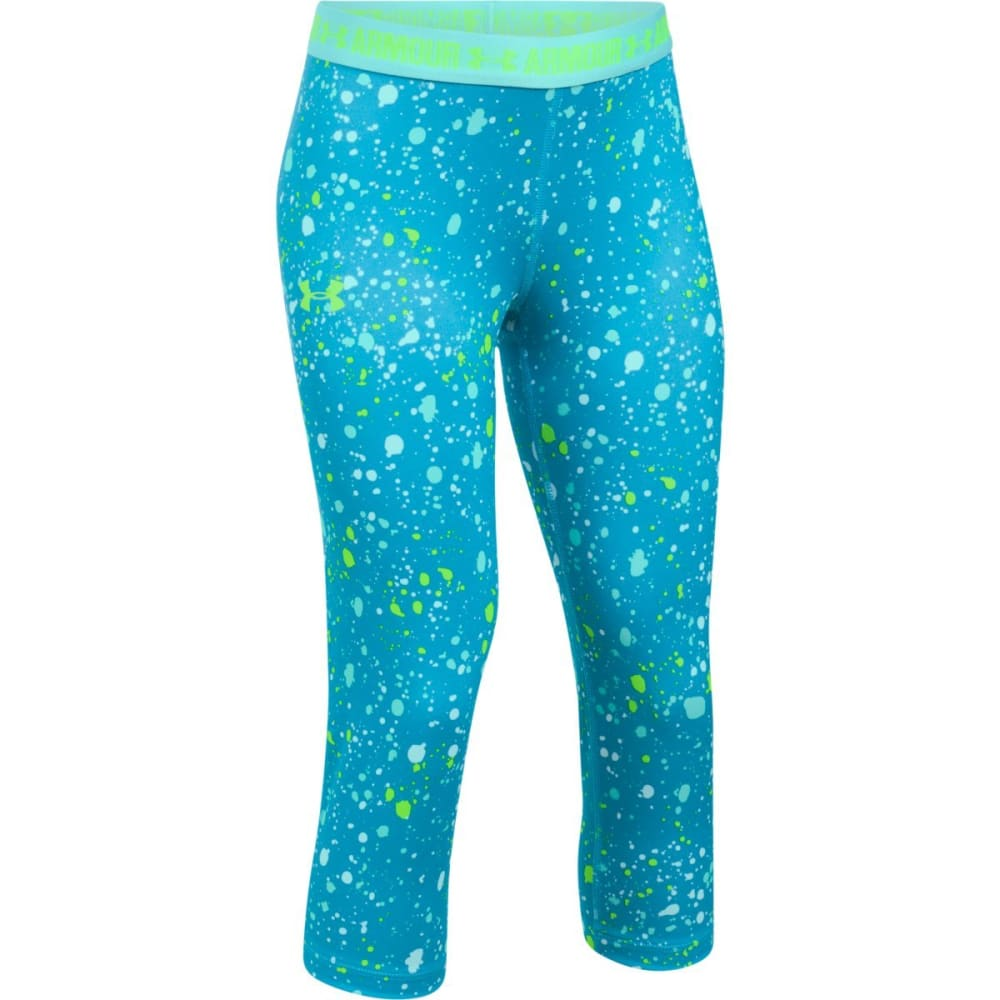UNDER ARMOUR Girls' UA HeatGear Armour Printed Capri Leggings - 931-BLUSHIFT/BLUINFT