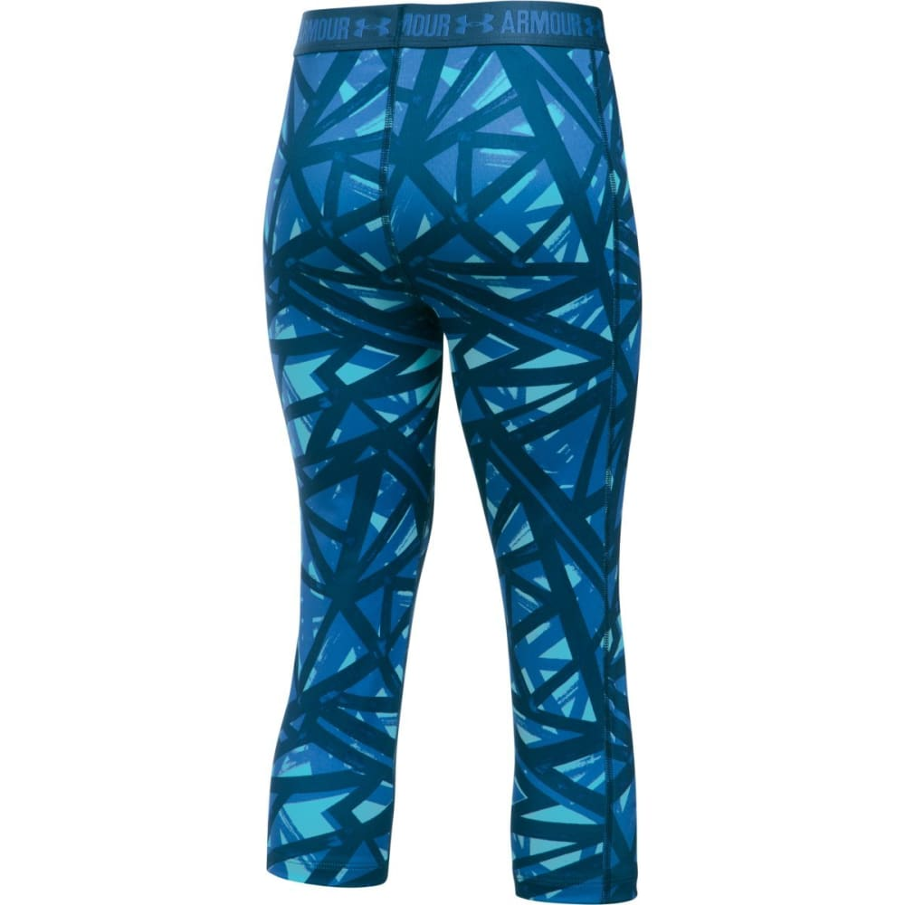 UNDER ARMOUR Girls' UA HeatGear Armour Printed Capri Leggings - 450-VENETIAN BLUE