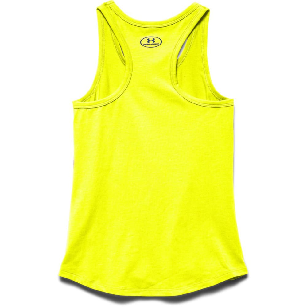 UNDER ARMOUR Girls' UA Stripe Wordmark Tank - YELLOW