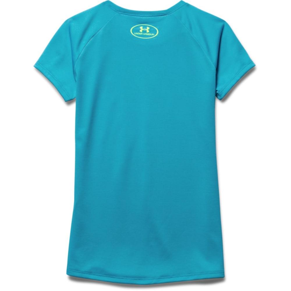 UNDER ARMOUR Girls' Fast Lane Big Logo Tee - AQUA-974