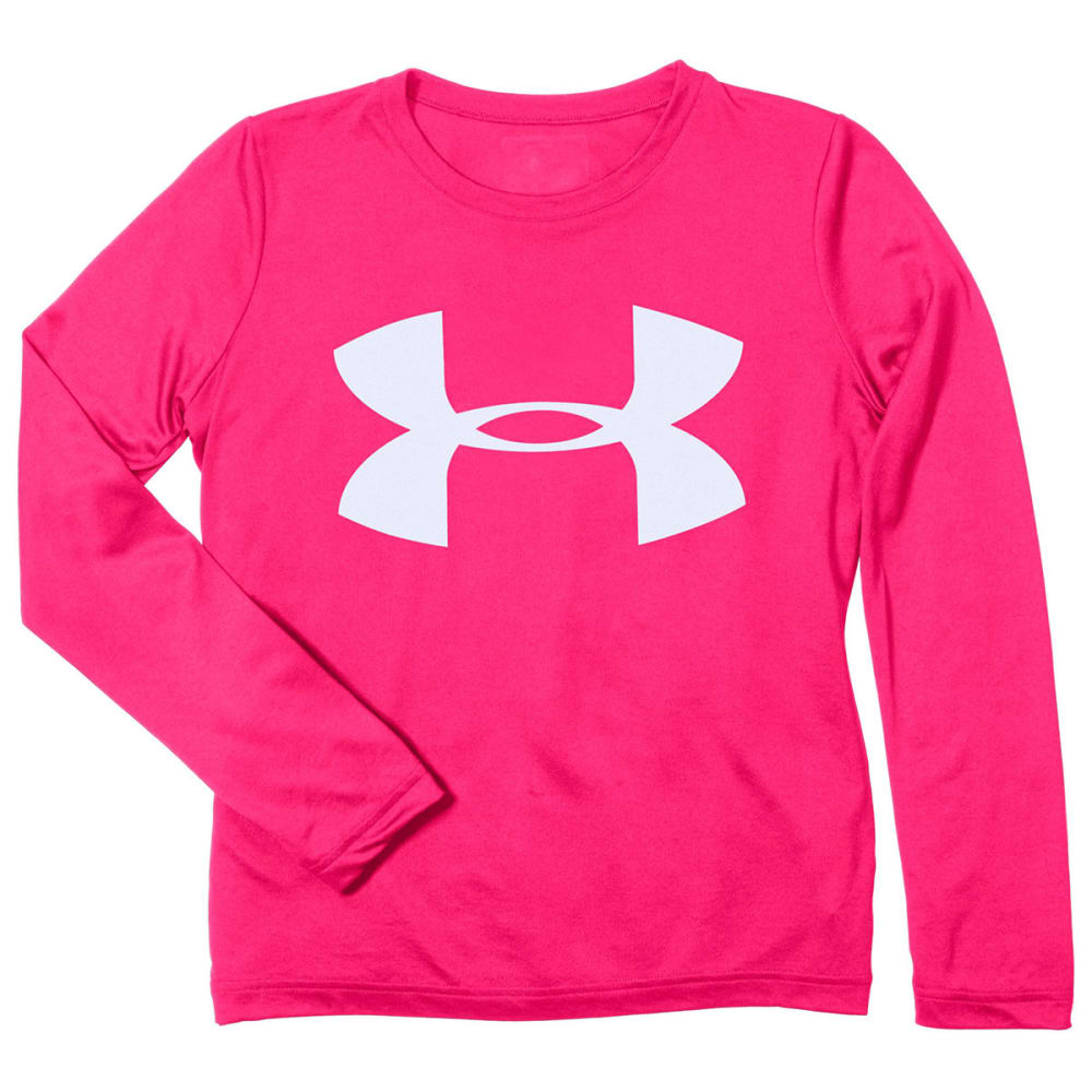 UNDER ARMOUR Girls' Tech   Big Logo Long-Sleeve Tee - GEORGIA PEACH