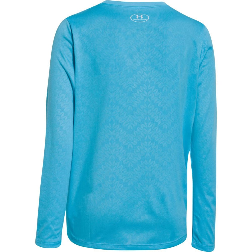 UNDER ARMOUR Girls' Big Logo Tech™ Long Sleeve Embossed Tee - CORTEZ/PASSION