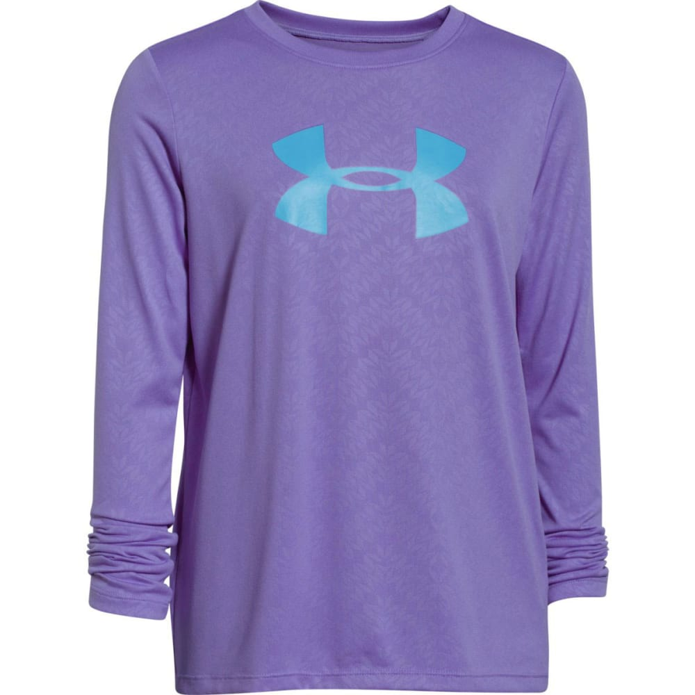 UNDER ARMOUR Girls' Big Logo Tech™ Long Sleeve Embossed Tee - FLAX/CORTEZ