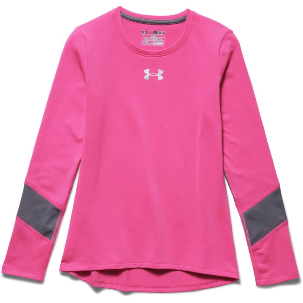UNDER ARMOUR Girl's ColdGear® Long Sleeve Shirt - PINK/LEAD