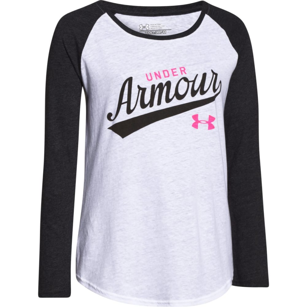 UNDER ARMOUR Girls' Long-Sleeve Baseball Tee - WHITE/REBEL PINK