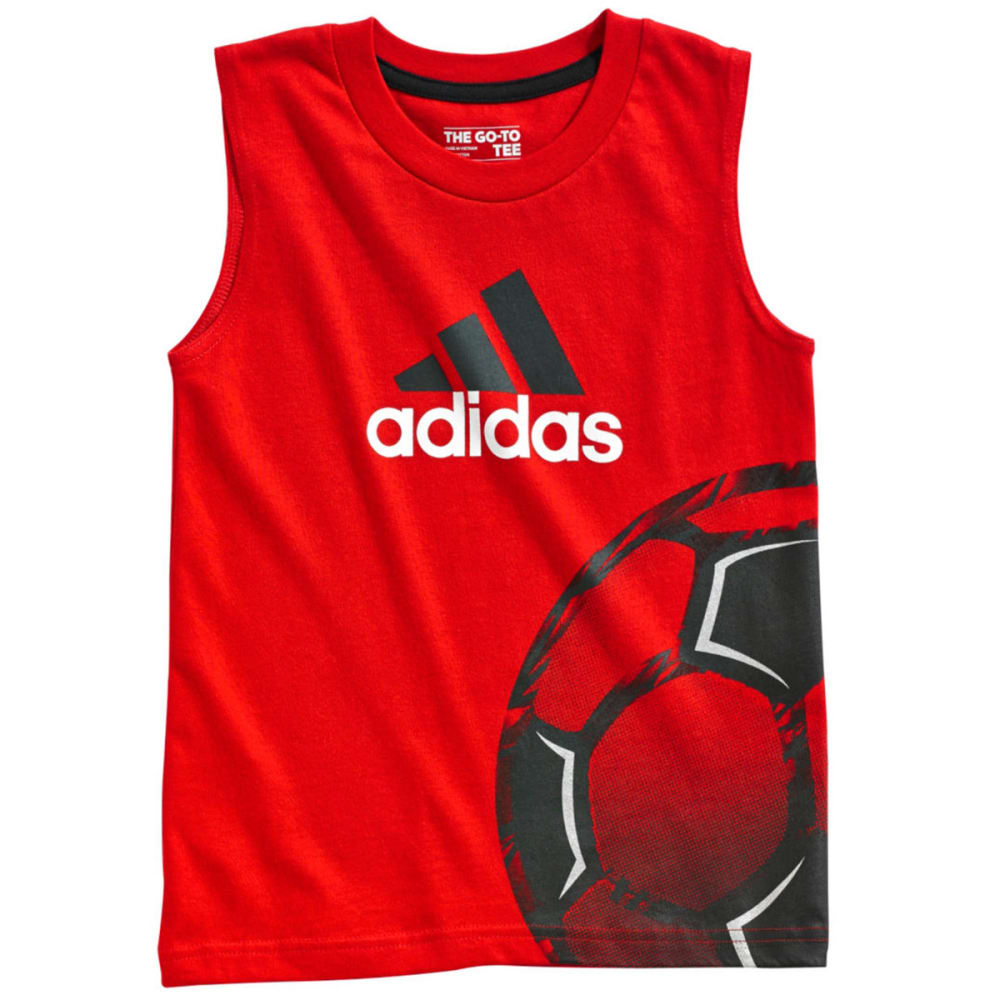 ADIDAS Boys' Sleeveless Logo Tee - RED