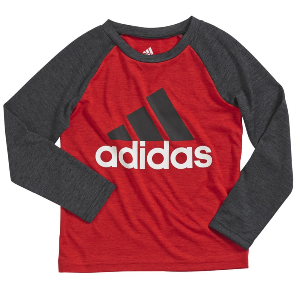 ADIDAS Boys' Performance Raglan Shirt - SCARLET/BLACK