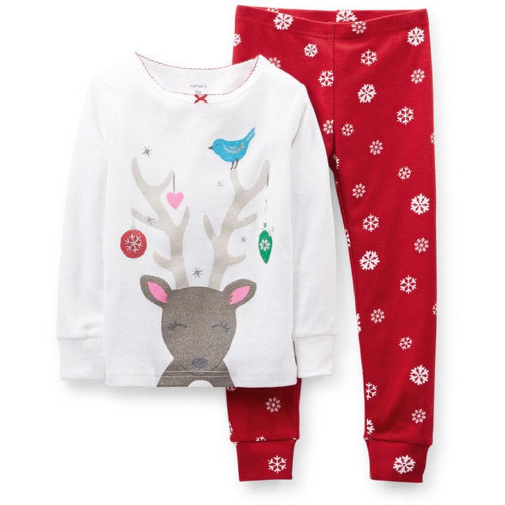 CARTER'S Girls' Christmas 2-Piece Snug Fit Cotton PJs, White Reindeer - BIRCH/CORAL