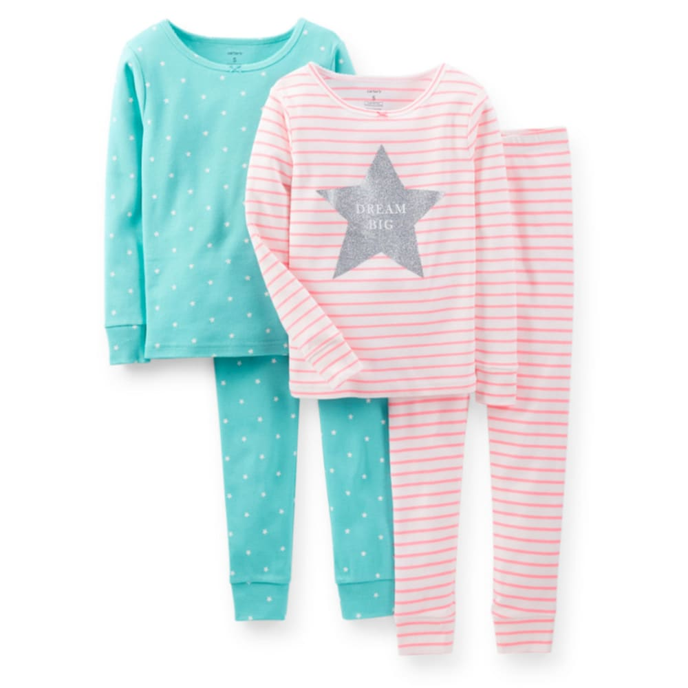 CARTER'S Girls' 4-Piece Snug Fit Cotton PJs, Hot Pink/Turquoise - BIRCH/CORAL