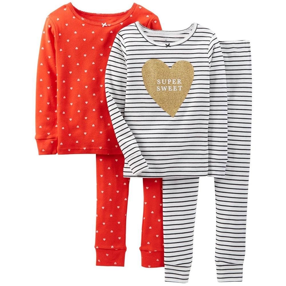 CARTER'S Girls' 4-Piece Snug Fit Cotton PJs, Black/Red  - BIRCH/CORAL