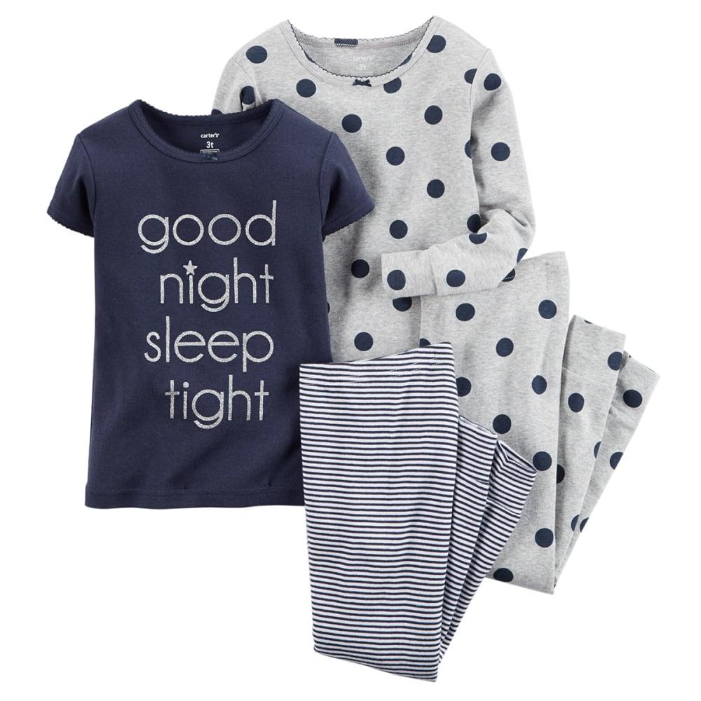CARTER'S Girls' 4-Piece Good Night Pajamas Set - NOON BLUE