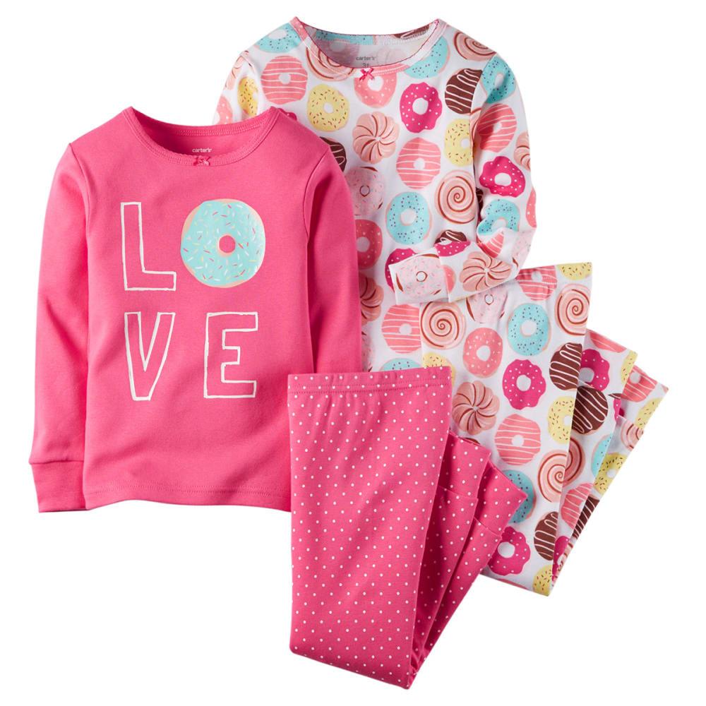 CARTER'S Girls' 4-Piece Love Donuts Pajamas Set - TEAL