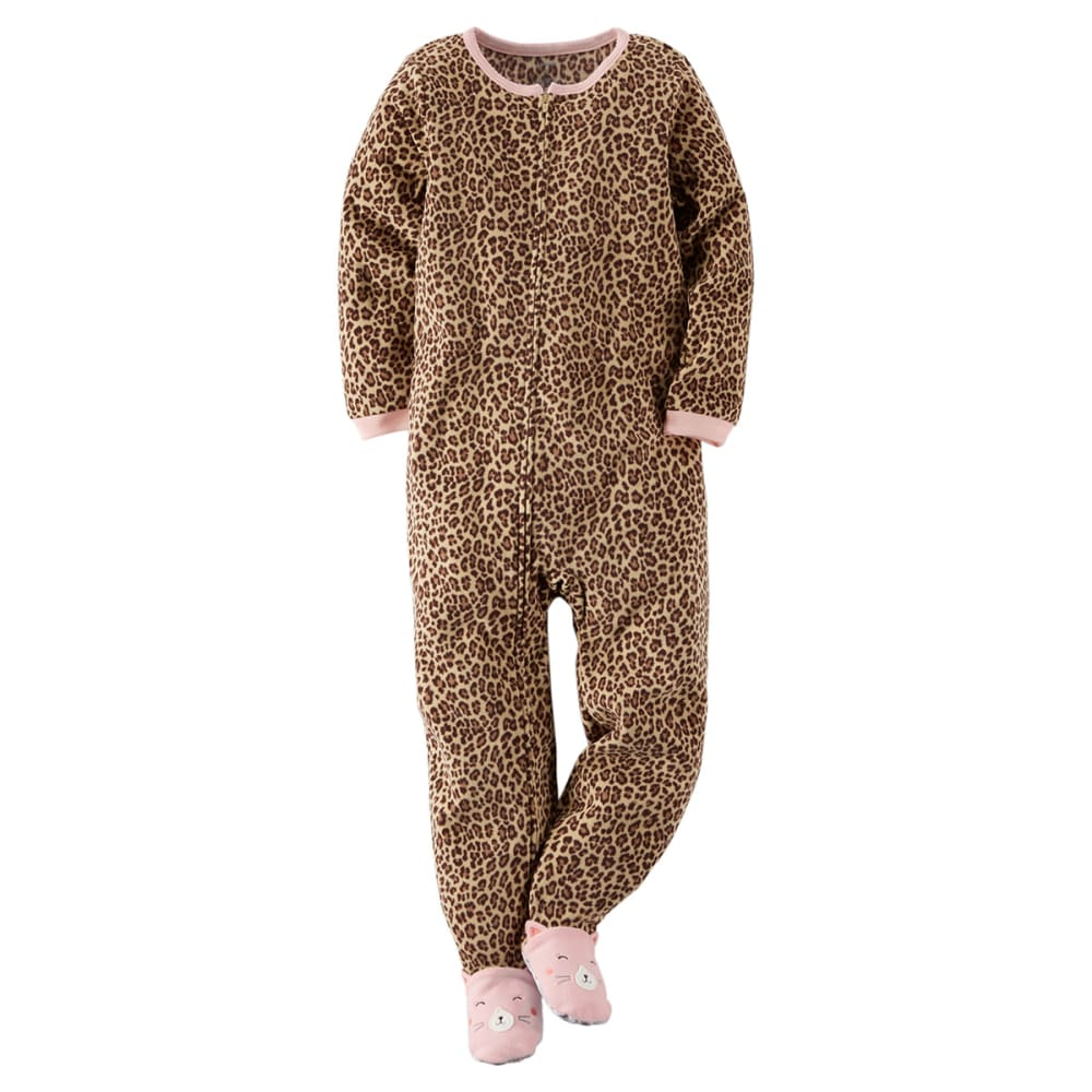 CARTER'S Little Girls' Leopard One Piece Footed Pajamas 4