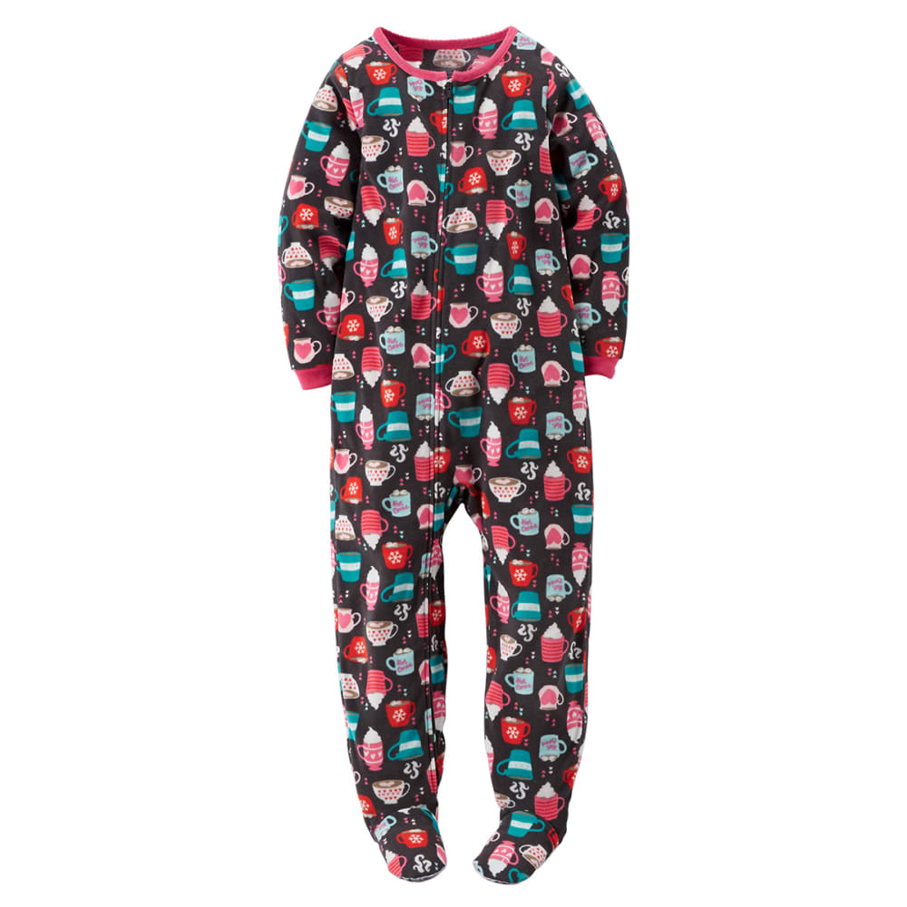 CARTER'S Little Girls' Hot Cocoa One Piece Footed Pajamas - TEAL