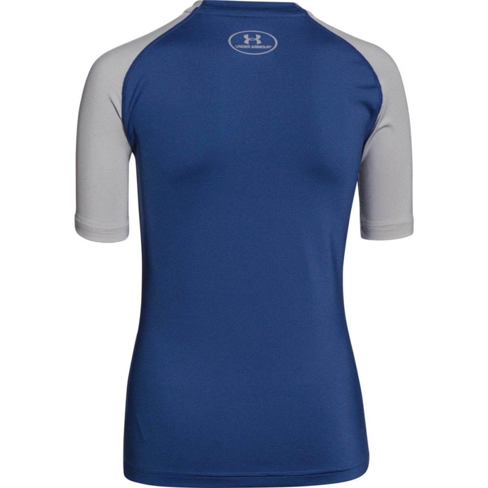 UNDER ARMOUR Boys' HeatGear® Armour UPF 50 Short-Sleeve T-Shirt - AMERICAN BLUE
