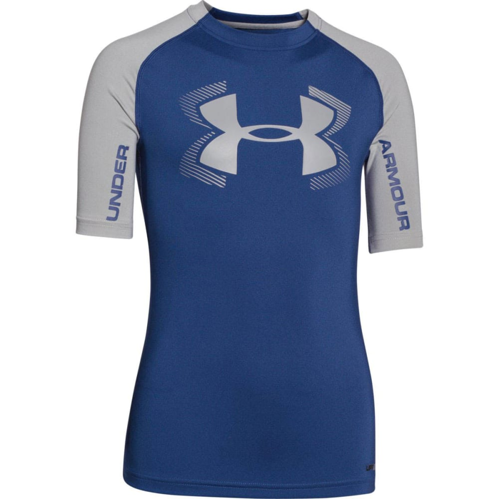 UNDER ARMOUR Boys' HeatGear® Armour UPF 50 Short-Sleeve T-Shirt - AMERICAN BLUE