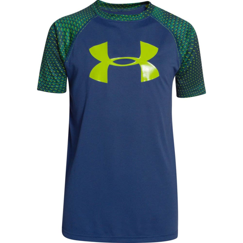 Under Armour Boy's UA Tech Twist Big Logo Tee - AMERICAN BLUE/VELOCI