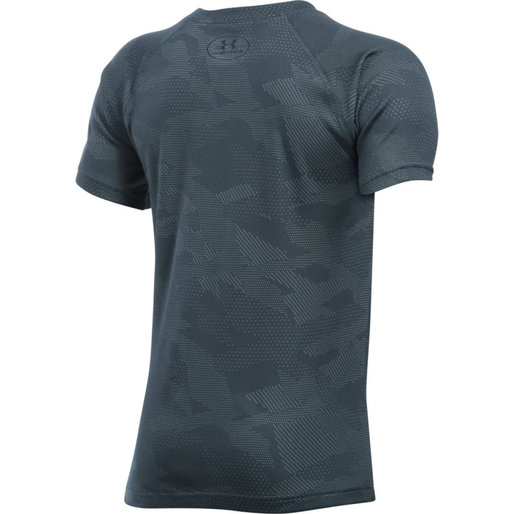 UNDER ARMOUR Boys' Big Logo Printed Tee - STEALTH/BLAZE-021