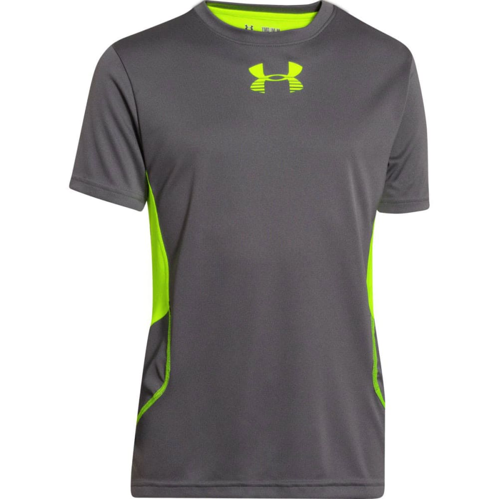 UNDER ARMOUR Boys' Tech™ Patterned T-Shirt - GRAPHITE/HI VIS YELL