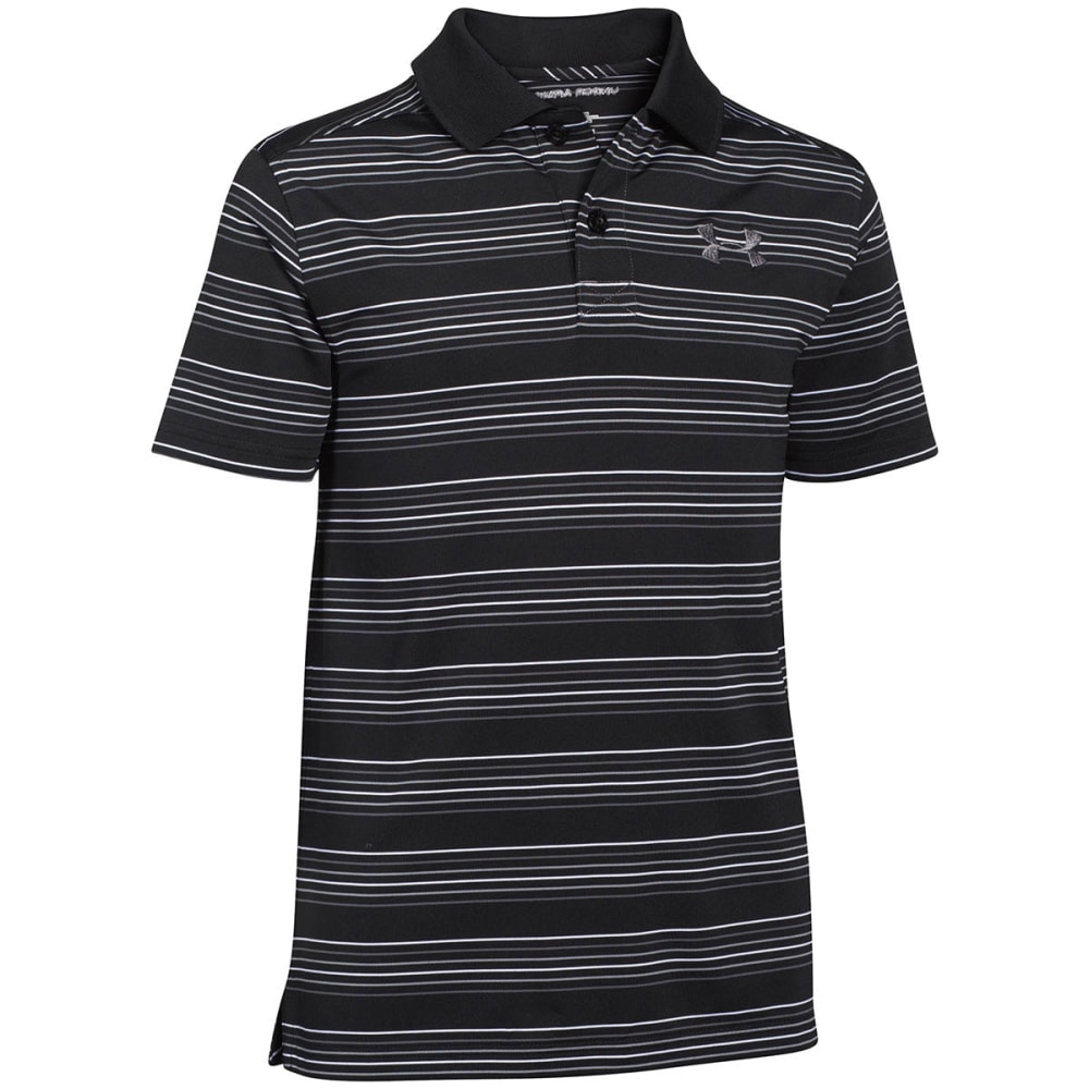 UNDER ARMOUR Boys' Tempo Stripe Polo - BLACK/METALLIC SILVE