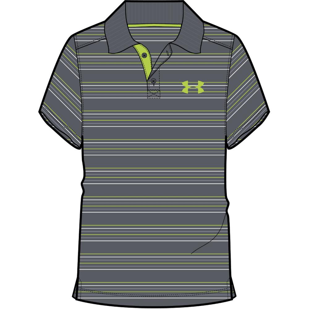 UNDER ARMOUR Boys' Tempo Stripe Polo - GRAPHITE