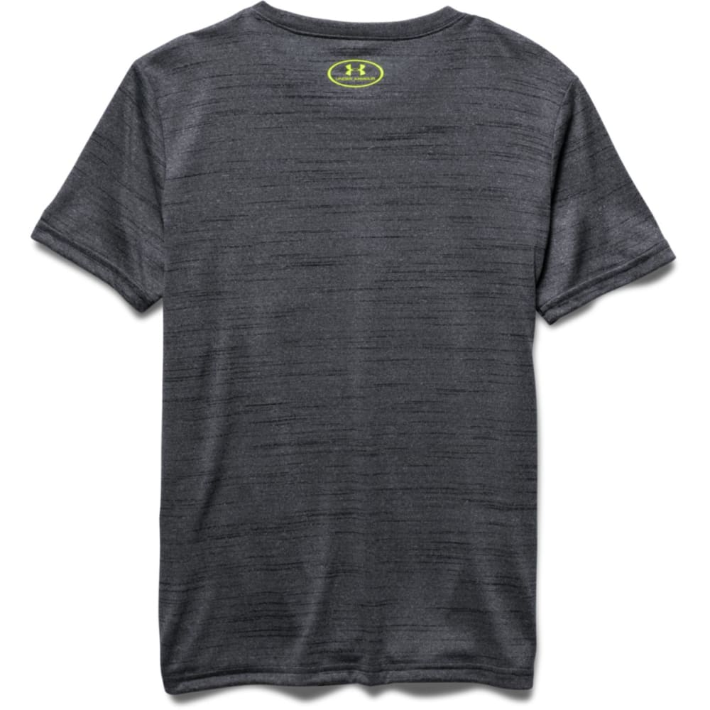 UNDER ARMOUR Boys' Short-Sleeve  Big Logo Hybrid Tee - BLACK/GR-002