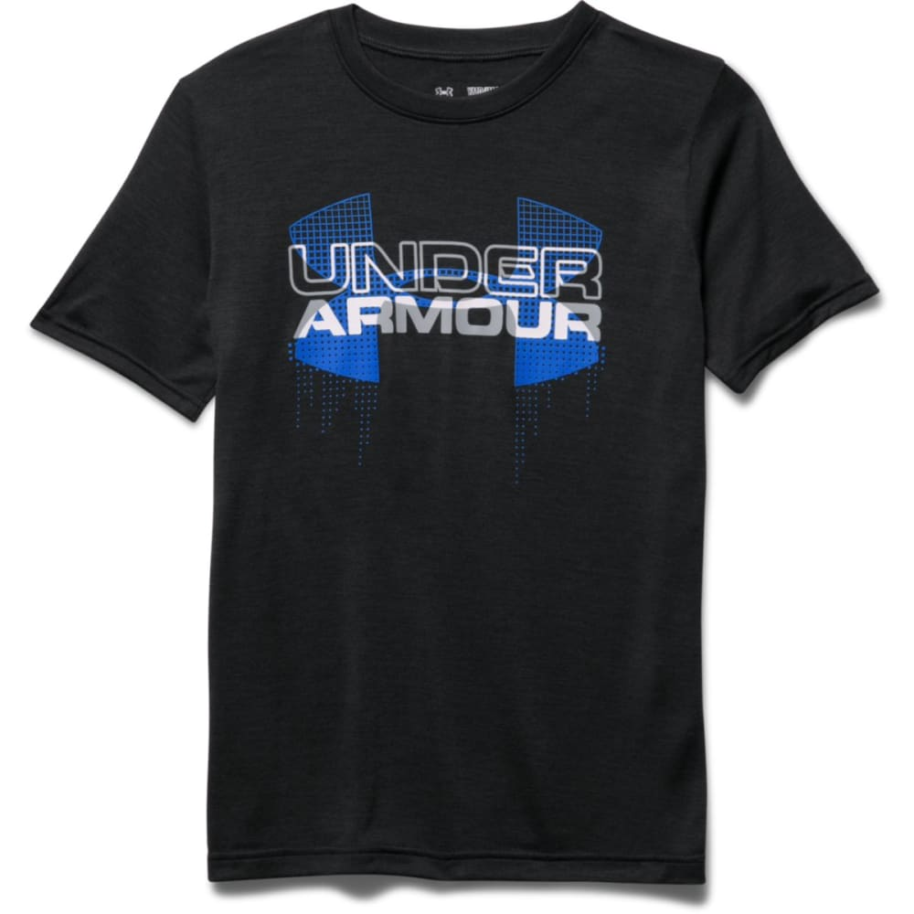 UNDER ARMOUR Boys' Short-Sleeve  Big Logo Hybrid Tee - BLACK/UL BLUE-003
