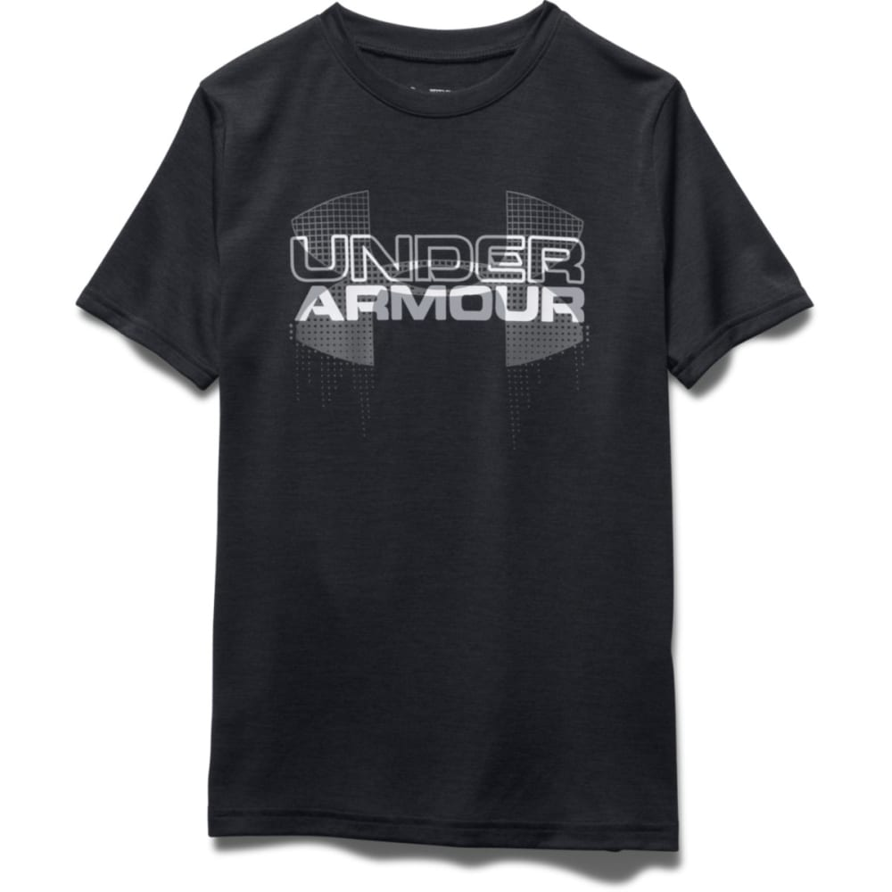 UNDER ARMOUR Boys' Short Sleeve Big Logo Hybrid Tee - BLACK/GRAPHITE-005
